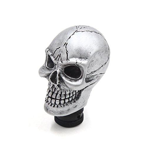 sourcing map Pomo de la Palanca de Cambios Calavera Cabeza Cráneo Resina Tono Plata 8mm 10mm 12mm