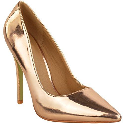 Nuovo Donna A Punta Da Donna Sandali Tacco Alto Festa Decolleté Taglie 3-8 rosa dorato metallizzato