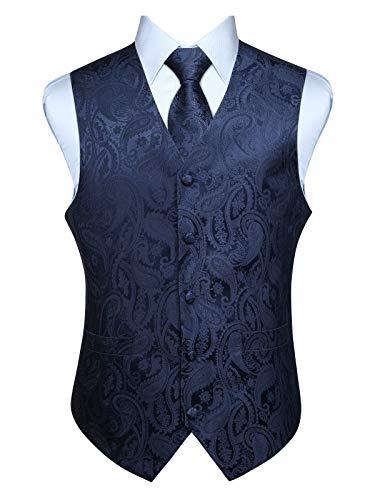ENLISION Herren Floral Weste Jacquard Hochzeit Krawatte & Einstecktuch Weste Suit Set