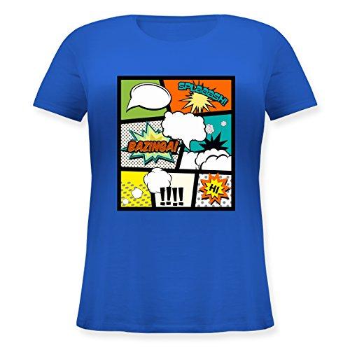 Comic Shirts - Comic Buchseite - Lockeres Damen-Shirt in großen Größen mit Rundhalsausschnitt Blau