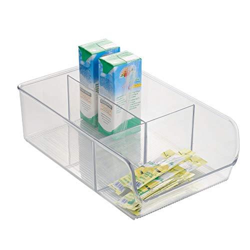 iDesign Caja transparente con 3 compartimentos, organizador de cocina mediano de plástico,...