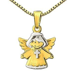 CLEVER SCHMUCK Set Goldener Kinderengel 13 mm Kreuzkette tragend glänzend bicolor 333 GOLD 8 KARAT mit vergoldeter Kette Venezia 38 cm im Etui