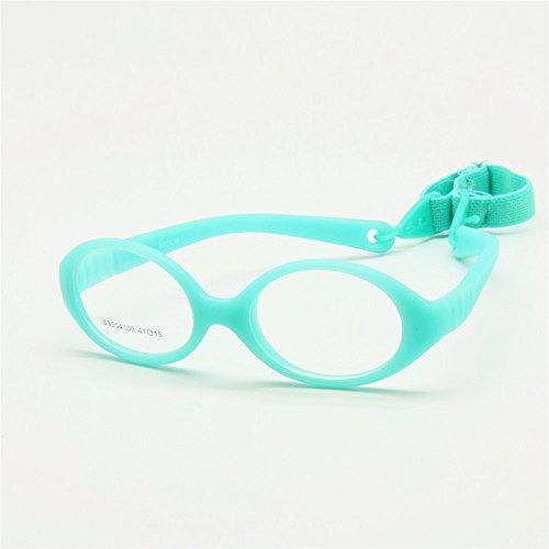 EnzoDate Flexible No Schraube Mädchen Brillen Größe 41/15 mit Kordel, jungen Gläser & Gurt, Kinder Brille, Brille biegsamen Safe Baby (Grün)