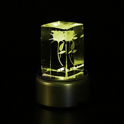 Ledmomo music box di cristallo fiore rosa lampada da tavolo rotante a luce led colorata anniversario di matrimonio regali di san valentino per le donne mamma i love you (senza alimentatore)