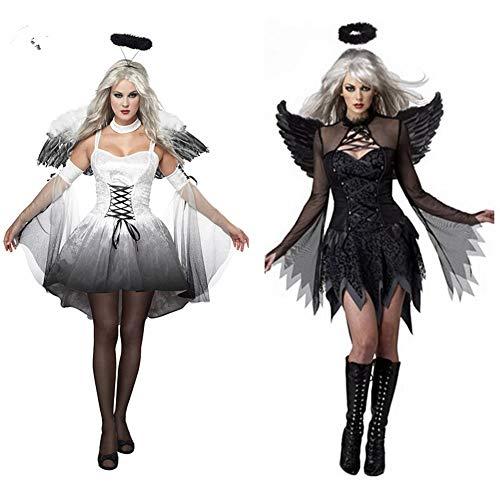 Kostüm Teufel Frau - JH&MM Halloween Kostüm Frau Engel Rollenspiel Teufel Kostüm Cosplay Rollenspiel Maskerade Show Kleid,Black