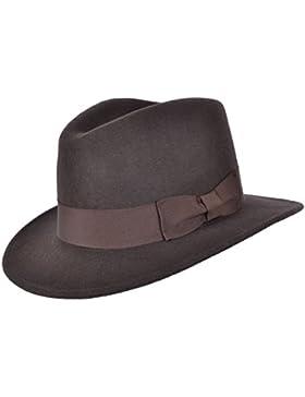 Wrapeezy Indiana - Sombrero de Fedora de cowboy, flexible, de fieltro, color negro, 100% de lana