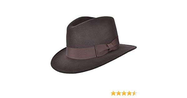 Brown Felt Fedora Crushable 100/% Wool Cowboy Hat Indiana 61cm XL XLarge 61 cm