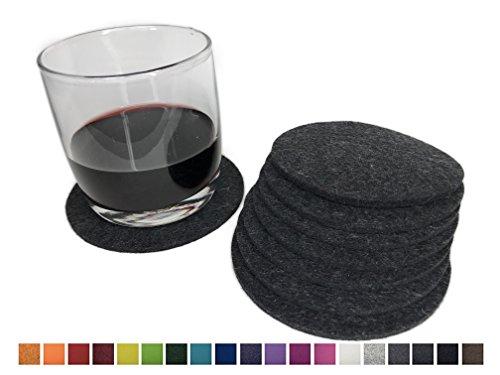 8 runde Glasuntersetzer aus 100% reinem Wollfilz – Farbe wählbar, Filzuntersetzer für Tisch und Bar von 8-Natur / Getränkeuntersetzer aus reinen Naturstoffen (Dunkelgrau)