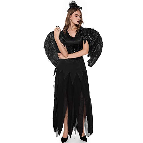 Böse Xl Kostüm Sexy Queen - Sexy Queen Vampire Kostüm Halloween Adult Ghost Bride Spiel Uniform Rock Cosplay Dark Angel Dress,Black,XL