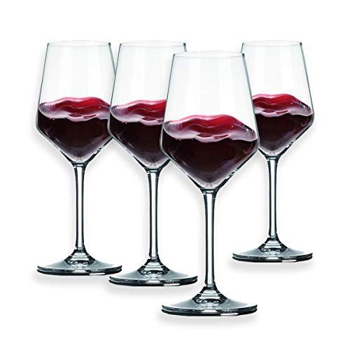 Berglander Rotweingläser 13 Unzen, bleifrei, aus hochwertigem Kristallglas, ideal für Partys, Hochzeit, Events, 390 ml, 4er-Set