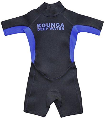 Kounga Deep Water Shorty Traje de Surf, Unisex Niños, Negro/Azul, 10