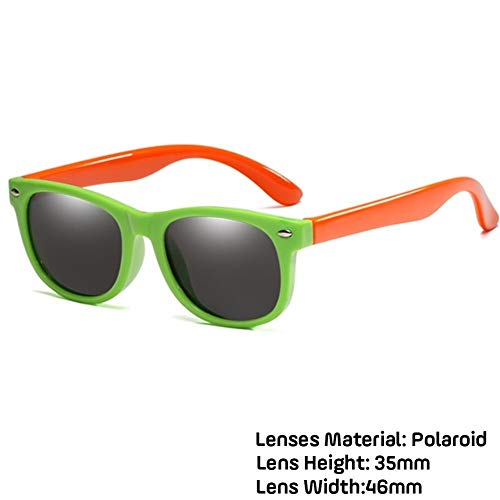 Neue Kinder Polarisierte Sonnenbrille TR90 Jungen Mädchen Sonnenbrille Silikon Schutzbrille Geschenk For Kinder UV400 Brillen (Lenses Color : Green orange)