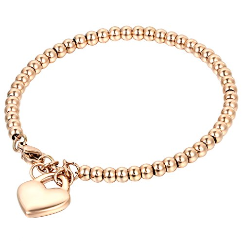 Oidea Edelstahl Armkette Damenarmband Kugel Perlen Armreif Charmsarmband Herz- Anhänger Armband für Damen, Rosegold