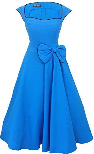 New Vintage 1950s 60s Rockabilly balançoire Robe de soirée Bleu - Bleu