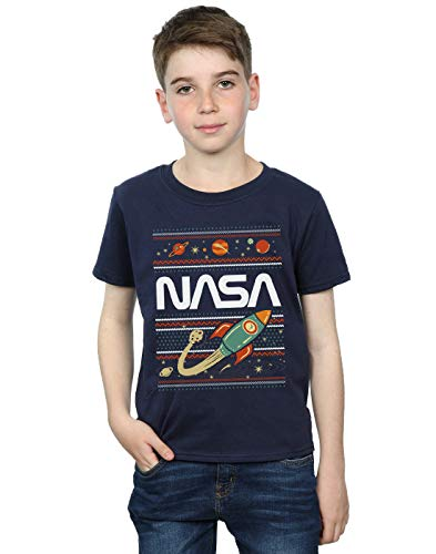 Absolute Cult NASA Niños Fair Isle Camiseta Azul Marino 5-6 Years