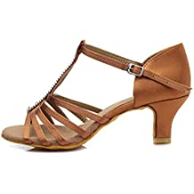 HROYL Zapatos de baile/Zapatos latinos de satín mujeres ES7-F27