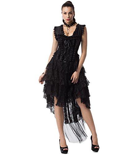 (DuuoZy Frauen Vintage Rüsche Spitze Steedon Korsett Kleid Cosplay Party Tänzer Kostüm, Black, l)
