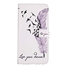 Vagenno Samsung Galaxy S10 Case, Flip Case PU Leather Notebook Wallet with Magnetic Closure Stand Card Holder ID Slot Money Pouch Folio Soft TPU Bumper Protective Skin Case Cover,Feather Flying Bird