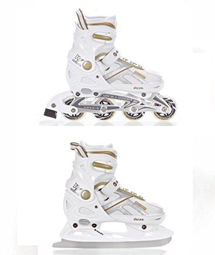 2in1 Schlittschuhe Inline Skates Inliner Raven Pulse White/Gold verstellbar Größe: 37-40 (23,5-26cm)