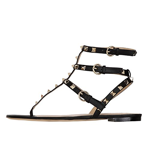 Lutalica Damenmode T-Strap besetzt Casual Komfort Sommer Flache Sandalen Schuhe Matt Schwarz Größe 41