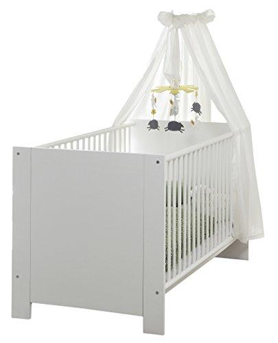 Preisvergleich Produktbild trendteam Babyzimmer Babybett, Kinderbett Olivia, 78 x 83 x 143 cm in Weiß mit drei Schlupfsprossen und dreifach höhenverstellbarem Matrazenrahmen