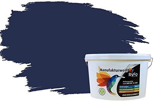 RyFo Colors Bunte Wandfarbe Manufakturweiß Nachtblau 10l - weitere Blau Farbtöne und Größen erhältlich, Deckkraft Klasse 1, Nassabrieb Klasse 1