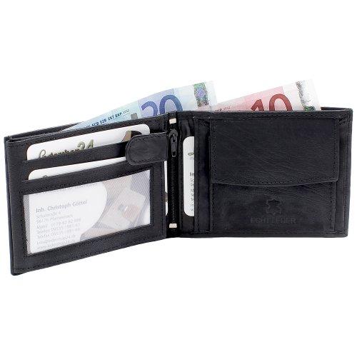Herren Echt Leder Geldbörse u. Portemonnaie Geldbeutel in Schwarz