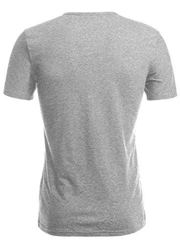 HEMOON Herren Slim Fit Kurzarm T-Shirt Basic V-Ausschnitt Tee Einfarbig Hellgrau