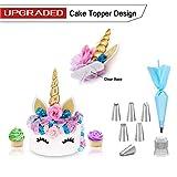 Unicorn Cake Topper oro 3D per il compleanno matrimonio + Cake Decorating Supplies Kit con 6 Strumenti della glassa Tips 1 del sacchetto della pasticceria da forno fissato per torte Cupcakes Cookies