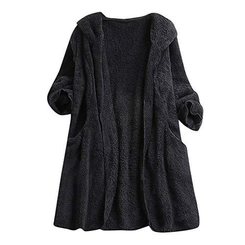 iHENGH Damen Winter Jacke Dicker Warm Bequem Slim Parka Mantel Lässig Mode Frauen Kunstwolle Reißverschluss Oberbekleidung(Schwarz, L)