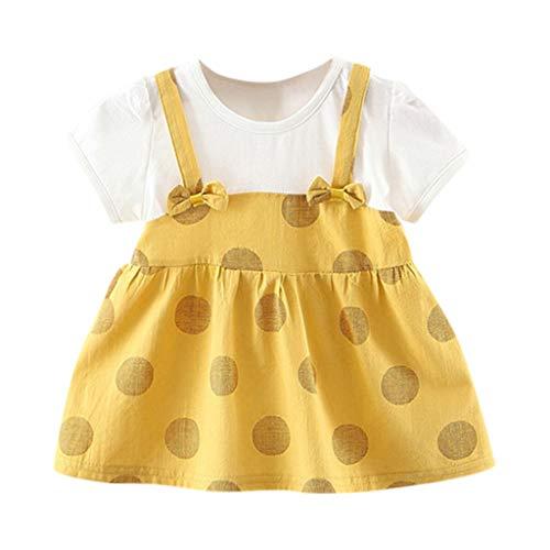 YWLINK Toddler Dress MäDchen Süß Volltonfarbe Blume T-Shirt-Kleid Kind Party MäDchen Prinzessin Kleider(B Gelb,6-12 ()