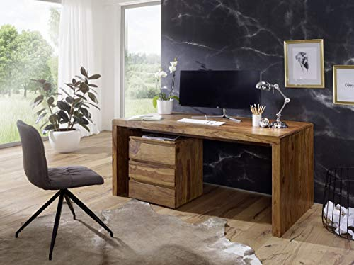 WOHNLING Schreibtisch BOHA Massiv-Holz Sheesham Computertisch 180 cm breit Echtholz Design Ablage Büro-Tisch Landhaus-Stil Natur-Produkt Büro-Möbel dunkel-braun Modern Büroeinrichtung rechteckig 76 cm hoch