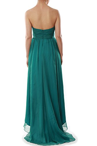 MACloth Women Strapless Chiffon Hi Lo Bridesmaid Dress Wedding Party Formal Gown Rosa