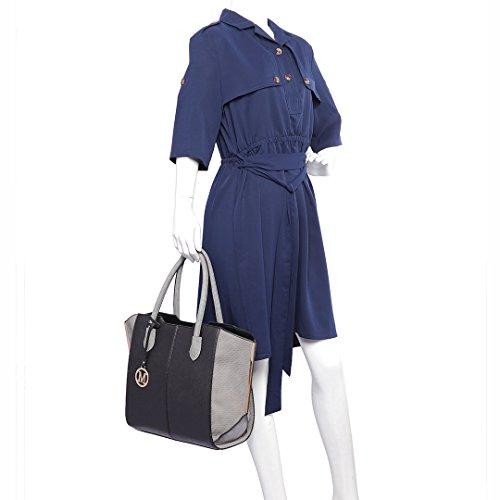 Miss LuLu Damentasche Elegant Handtasche Winged Tote Bag Groß PU-Leder Zweifarbig LT6625-Schwarz/Grau