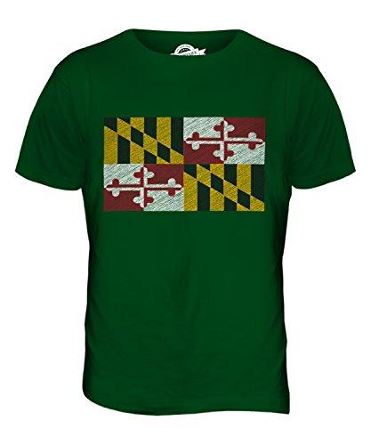 CandyMix Bundesstaat Maryland Kritzelte Flagge Herren T Shirt Flaschengrün