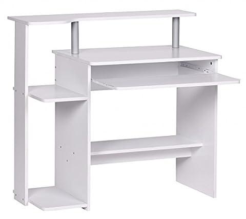 FineBuy CEVO Computertisch ohne Rollen klein 94cm breit Tastaturauszug ausziehen Holz PC Laptop Tisch Schreibtisch mit Aufsatz für kleine Räume 48cm tief 90cm hoch Drucker-Ablage platzsparend