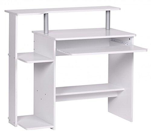 FineBuy Computertisch CEVO Weiß 94 x 90 x 48 cm mit Tastaturauszug | Laptop Tisch ohne Rollen mit Aufsatz | PC-Tisch mit Drucker-Ablage platzsparend | Schreibtisch für kleine Räume