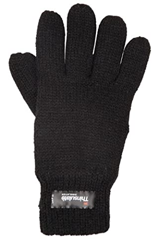 Mountain Warehouse Kids Knitted Thinsulate Thermal Gloves - Machine Washable, Classic Knitted Gloves with Thinsulate Insulation & Elasticised Cuff Black Medium / Large