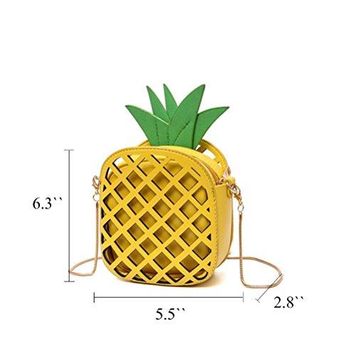 Honeymall Sacchetti di spalla delle donne di cuoio di cuoio dell'unità di elaborazione sacchetto del messaggero delle borse della catena di figura dell'ananas Gelb