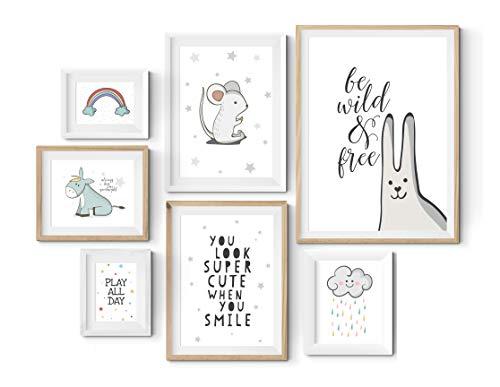 7er Poster Set in verschiedenen Größen! 10x15, 13x18, A4 und A3. Wanddeko von MARELLE. Beste Poster, Wandbild, Spruchbilder, Baby & Kinderzimmer Deko, Geschenk, Gallery Wall, Komplett Set 2556