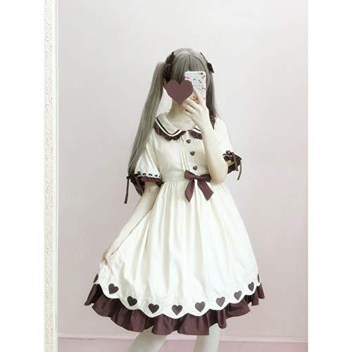 QAQBDBCKL Lolita Tägliche Kleid Nette Kawaii Mori Mädchen Prinzessin Kleid Sommer Op Kurzarm Harajuku Kleid