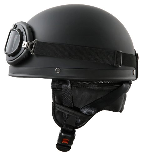 ATO-Helme Oldtimer Motorradhelm in Schwarz matt mit Brille Größe XL 61cm