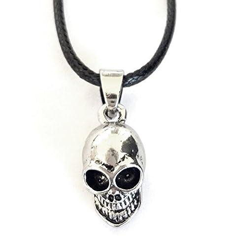 T2–Halskette mit Anhänger Totenkopf mit Schlaufe in Kordel Schwarz PU Idee Geschenk