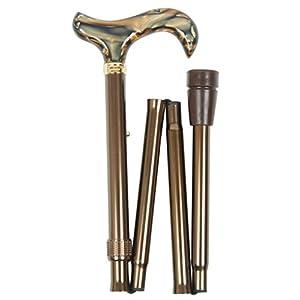 Gehstock Design – Faltstock PEARL, höhenverstellbar von 82 cm-92 cm, Griff in Perlmutt-.Optik, Stock Leichtmetall glanz-braun mit Gummipuffer