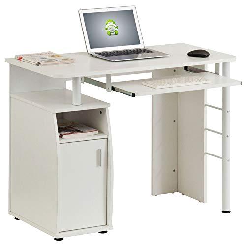 Kompakter Computer Schreibtisch Arbeitsplatz mit Schrank Regalfach in Weißes Holzmaserung Piranha Furniture PC 1s - Weiß Schrank Schreibtisch