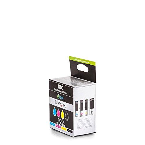 Original Tinte passend für Lexmark Impact S 305 Lexmark NO 100 14N1912E - 4x Premium Drucker-Patrone - Schwarz, Cyan, Magenta, Gelb - 4x200 Seiten