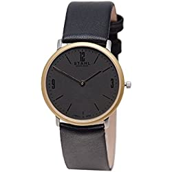 Stahl SWISS MADE Wrist Watch Model: ST61124 - Gold Plated - MidSize 30mm Case - Arabic and Bar Silver Dial