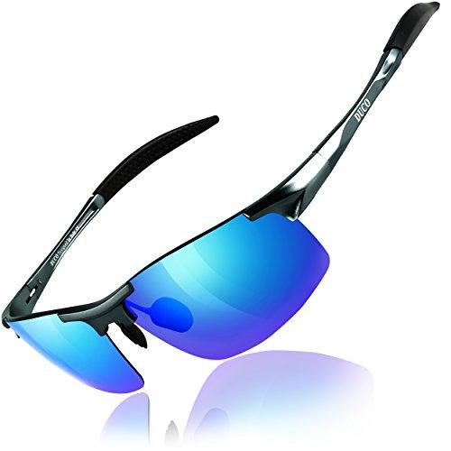 DUCO Herren Sportbrille Polarisierte Sonnenbrille Fahrerbrille 8177S (Gunmetal, Strahlende Blau)