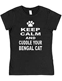 Click My Clobber Womens, T-Shirt, Keep Calm And Cuddle Your Bengal Cat