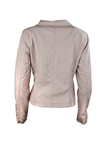 Donna Ecopelle Zip Pianura Up Ladies Giacca con cuciture dettaglio Pink